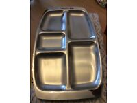 Stainless steel shallow serving tray never used still in box