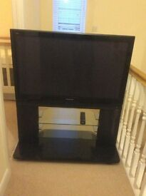 Panasonic Viera TH-42PX70B 42 inch HD ready TV black with plasma TV stand and two shelves