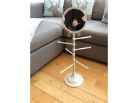 Shabby chic cream vanity mirror/jewellery stand