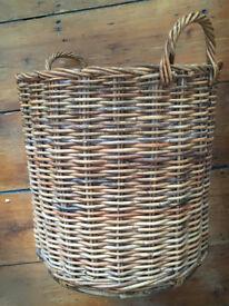 Large rattan vintage basket logs/toys/laundry