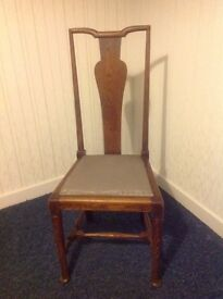4 Vintage High Back Chairs in Oak