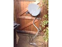 Satellite dish with wire and brackets