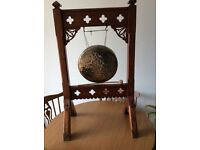 Brass gong with wooden frame