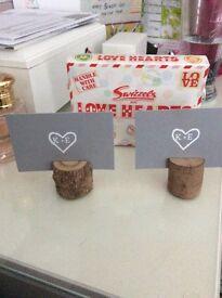 Wood slice name card holders