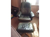 Big green chair and footstool - free to good home!