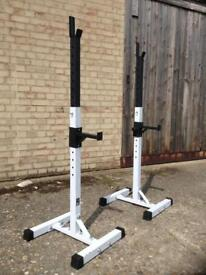 Adjustable Squat Stands with Spotter Catchers (Delivery Available)