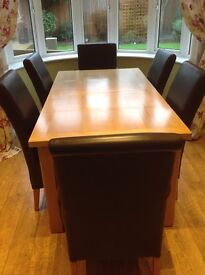 Oak Dining Table and Six Leather chairs SOLD - other items must go