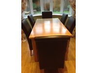 Oak Dining Table and Six Leather chairs