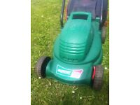 QUALCAST ELECTRIC MOWER WITH BOX & ROMAN BLINDS (NEW) & WOODEN SHELVING (NEW)