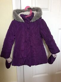 Girls Bluezoo coat age 3-4 with mittens