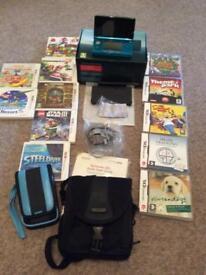 Nintendo 3DS Aqua blue, boxed & games bundle **excellent condition**