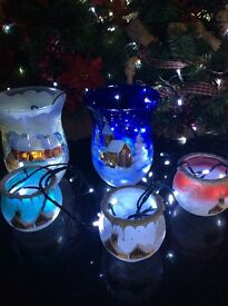 Christmas German Hand-Painted Glass Wind Lanterns