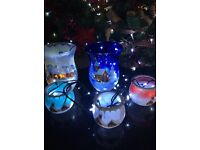 Christmas German Hand-Painted Glass Wind Lanterns