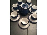 Denby tea set including 7 cups and saucers and a teapot