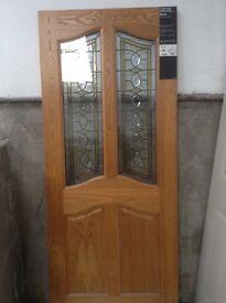 New Triple glazed hard wood oak veneer external door