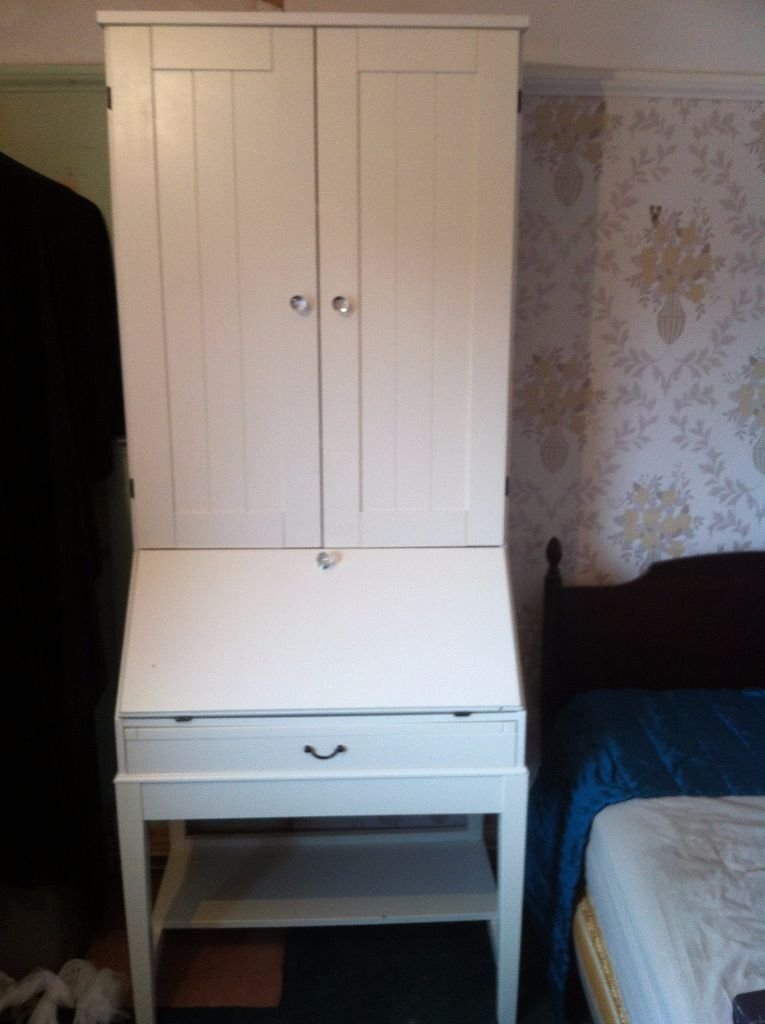 Computer Desk Cupboard Lovely White Tall Unit Ikea That Hides Everything Must Go