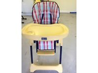 Chicco highchair, adjustable height and removable seat cushion