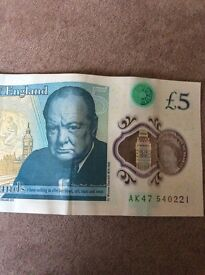 £5 note serial number AK 540221