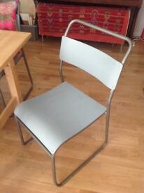 4 Chairs. Retro, vintage, industrial, metal framed, plywood seat and back. Sturdy, yet not bulky.