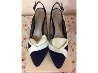 Jacques Vert Navy and Cream Shoes and Bag