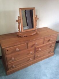 Solid Pine Bedroom Draws with mirror