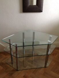 Clear glass and chrome corner tv stand
