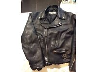Black leather biker style jacket by Kett leathers 46 chest