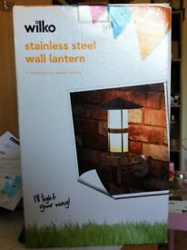 1 x stainless steel wall lantern modern NEW BOXED ( 4 available)