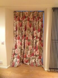 Heavy interlined linen floral curtains