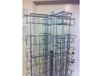 Silver Rotating Greetings Card Display Stand, Swivel, Swivelling Retail Shelving for Crafts Shop etc