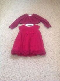 BABY BOUTIQUE DRESS & MATCHING CARDIGAN SIZE 0-3 MONTHS