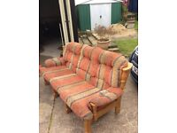 Wooden frame 3 seater sofa. Free to take away. Terracotta and beige colour