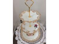 Gold/Pink/White Bone china 3 Tier Cake Stand.