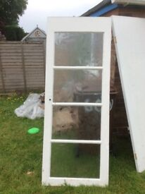 Wooden Interior Doors, one with glass panels. FREE TO COLLECT