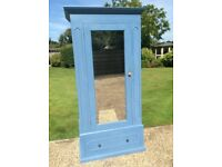 Single solid pine painted single wardrobe with drawer