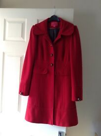 Ladies Long Red Coat - Size 12