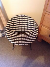 1960s SMALL BLACK & WHITE PLASTIC WOVEN CHAIR