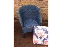 Cute little reproduction Lloyd loom kids tub chair with cushion