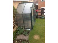 Compact 6 x 4 polycarbonate panelled greenhouse with shelving units