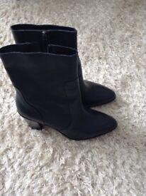 M&S brand new unworn navy leather high block heel ankle boots