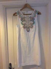White Monsoon Embellished Dress Size 10
