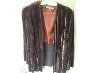 Mauve crushed velvet Patsy Seddon designer jacket