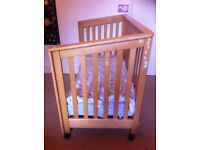 Wooden Cot bed , side car cot / bed side with bedding and optional mattress