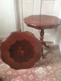 2 Italian style inlaid occasional side tables. Hexagonal shape height 57cm width 54cm v.g condition.