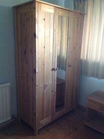Pine Wardrobe - 3 door mirrored wardrobe. VGC. (See Argos ref 569/9612). Only £99