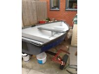 10 ft fiberglass fishing dingy and road trailer