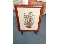 Wooden Framed, Hand Embroidered Fire Screen - Quick Sale, House Move
