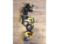 Dewalt power tool set. 18v jigsaw, body only. 110v sds drill. Combi drill, 2 batteries and charger