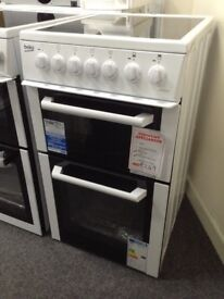 Beko white 50cm electric cooker. Ceramic hob A rated. £249 new/ graded 12 month Gtee