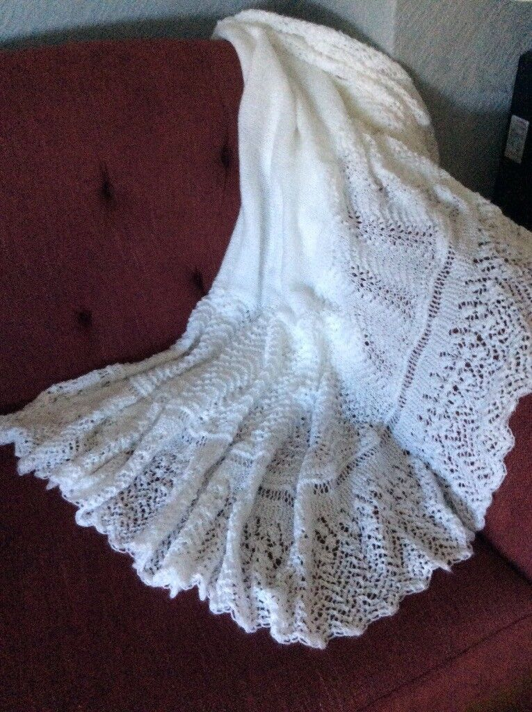 Beautiful Hand Knitted White 3Ply Baby Shawl